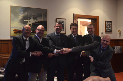 From left to right :  Edward Gatt/Elisabeth Ltd; John Eldridge/Aspin Kemp & Associates (AKA); Ard Jan Kooren/Kotug International BV; Arnout Damen/Damen Shipyards Group; Todd Barber/Robert Allan Limited; Evan Willemsen/KST b.v. (Rotor®tug).