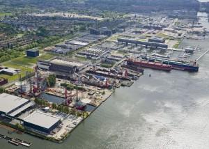 Shipdock Amsterdam aerial view.