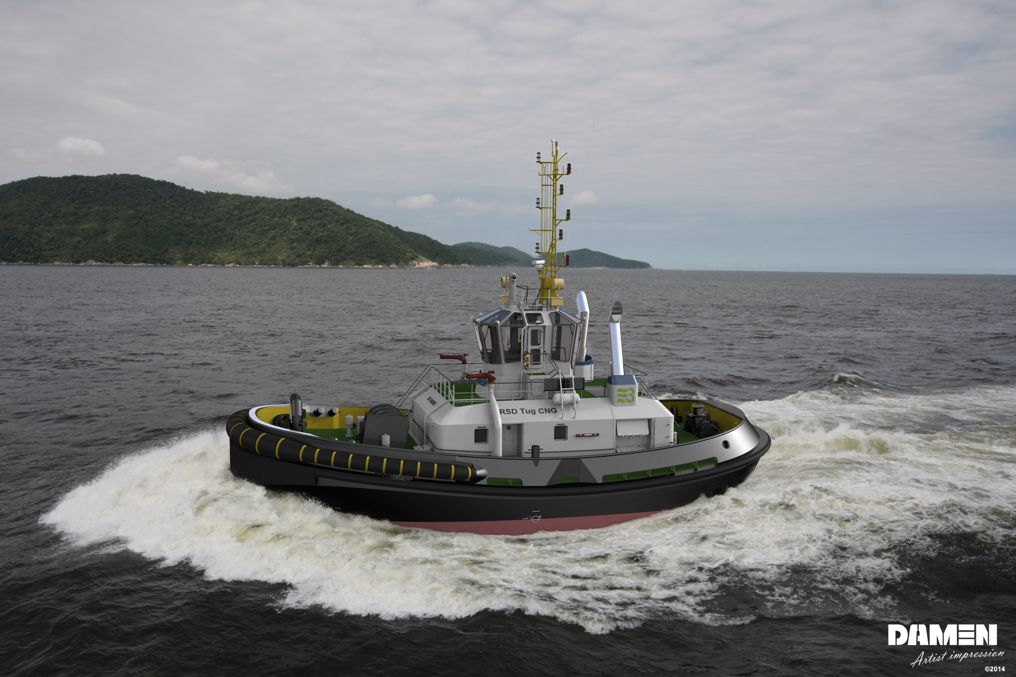 Damen, MTU and SVITZER will launch the  world's first RSD CNG tug in 2016