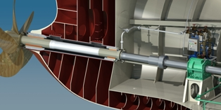 Typical seawater lubricated propeller shaft system (courtesy of Thordon Bearings Inc.)